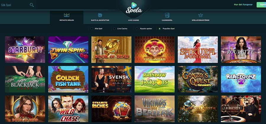 Spela Casino erbjuder mängder av casinospel och det är lätt att hitta något som passar alla.